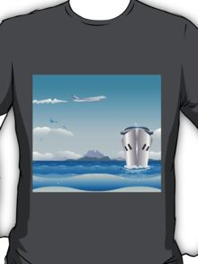 Big airplane in the sky and cruise liner in the sea T-Shirt