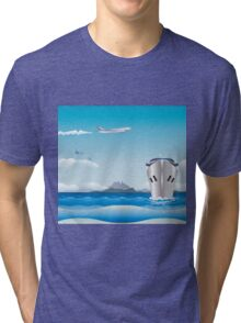 Big airplane in the sky and cruise liner in the sea Tri-blend T-Shirt