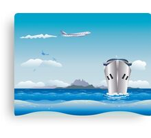 Big airplane in the sky and cruise liner in the sea Canvas Print