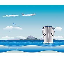 Big airplane in the sky and cruise liner in the sea Photographic Print