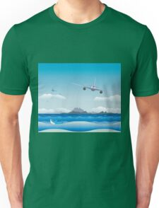 Airplane over Sea Unisex T-Shirt