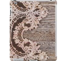 vintage rustic Country Barn Wood white Lace pattern iPad Case/Skin