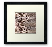 vintage rustic Country Barn Wood white Lace pattern Framed Print