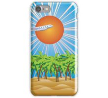 Airplane fly over tropical island 2 iPhone Case/Skin