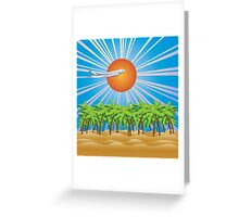 Airplane fly over tropical island 2 Greeting Card