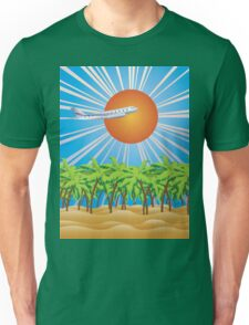Airplane fly over tropical island 2 Unisex T-Shirt