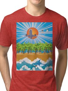 Airplane fly over tropical island Tri-blend T-Shirt