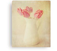 Textured Vintage Pink Tulips Canvas Print