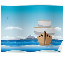 Cartoon boat in the sea Poster