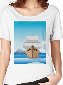 Cartoon boat in the sea Women's Relaxed Fit T-Shirt