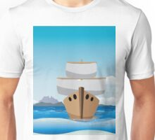 Cartoon boat in the sea Unisex T-Shirt