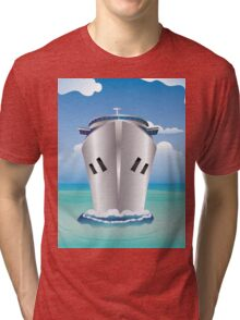 Cruise Liner in the Sea Tri-blend T-Shirt