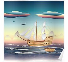 Old sailing ship on the open ocean at sunset Poster