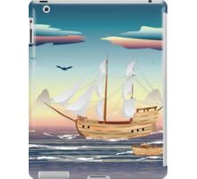 Old sailing ship on the open ocean at sunset iPad Case/Skin