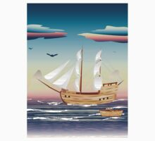 Old sailing ship on the open ocean at sunset Kids Clothes