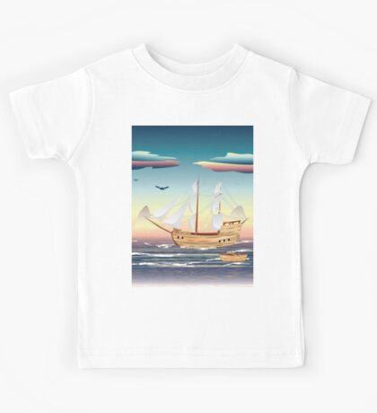 Old sailing ship on the open ocean at sunset Kids Tee