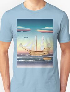 Old sailing ship on the open ocean at sunset T-Shirt
