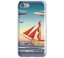 Old sailing ship on the open ocean at sunset 2 iPhone Case/Skin