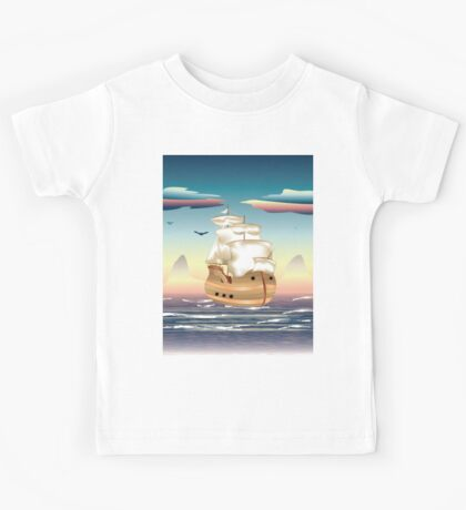 Old sailing ship on the open ocean at sunset 3 Kids Tee