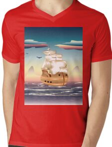 Old sailing ship on the open ocean at sunset 3 Mens V-Neck T-Shirt