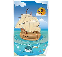 Wooden Ship in the Sea Poster