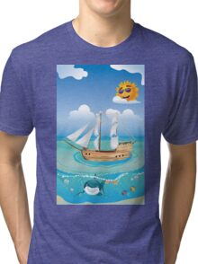Wooden Ship in the Sea 2 Tri-blend T-Shirt