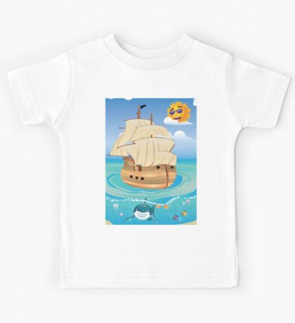 Wooden Ship in the Sea Kids Tee