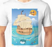 Wooden Ship in the Sea Unisex T-Shirt