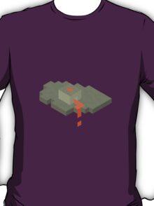 Isometric Floating Island Volcano T-Shirt