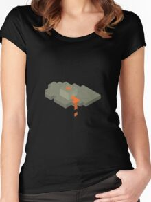 Isometric Floating Island Volcano Women's Fitted Scoop T-Shirt