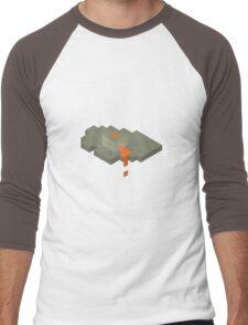 Isometric Floating Island Volcano Men's Baseball ¾ T-Shirt
