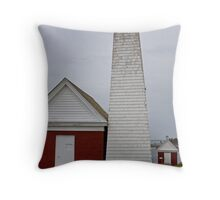Gray Day at Pemaquid Light House Throw Pillow