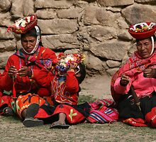 Peruvian Women and Children in The Sacred Valley, by Beamer