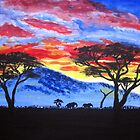 African sunset painting by Almonda