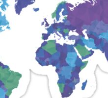 World Map Colourful Sticker