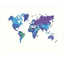 World Map Colourful Art Print