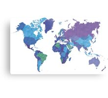 World Map Colourful Metal Print