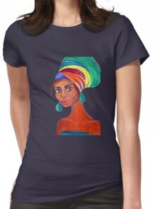 African Girl Wearing a Turban Womens Fitted T-Shirt
