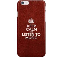 Keep Calm and Listen to Music - Glossy Red Leather iPhone Case/Skin