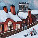 English village snowscene by sword