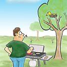 Barbecue Cartoon  by David Stuart