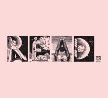 Read! Retro Science Fiction Rocket Alphabet Letter design Kids Tee