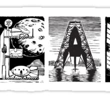 Read! Retro Science Fiction Rocket Alphabet Letter design Sticker