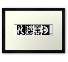 Read! Retro Science Fiction Rocket Alphabet Letter design Framed Print
