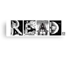 Read! Retro Science Fiction Rocket Alphabet Letter design Canvas Print