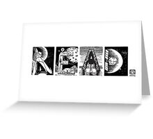 Read! Retro Science Fiction Rocket Alphabet Letter design Greeting Card