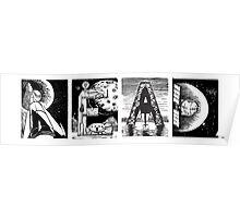 Read! Retro Science Fiction Rocket Alphabet Letter design Poster