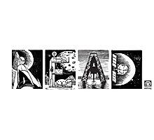 Read! Retro Science Fiction Rocket Alphabet Letter design Photographic Print