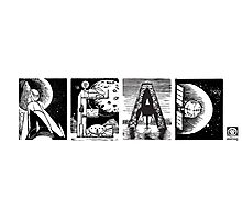 Read! Retro Science Fiction Rocket Alphabet Letter design Photographic Print