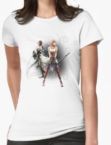 Final Fantasy XIII-2 - Lightning (Claire Farron) and Serah Farron Womens Fitted T-Shirt